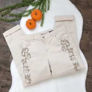 Style&Co Denim Floral Embroidered Boyfriend Jeans